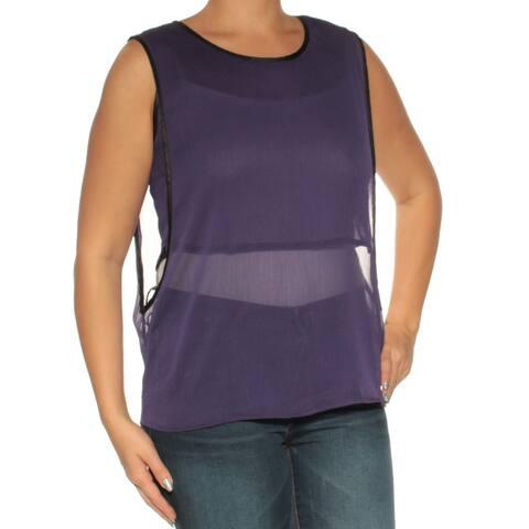 KIIND OF Womens Purple Sheer Sleeveless Jewel Neck Top Size: L