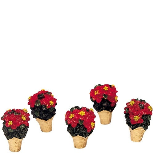 Miniature Poinsettia Set of 5