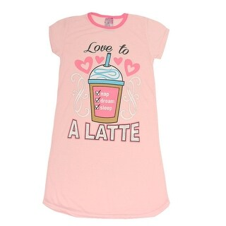 "Sweet n Sassy Girls Light Pink ""Love To A Latte"" Print Nightgown"