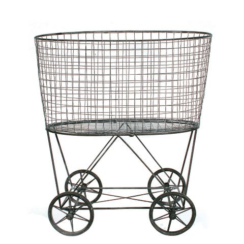 Vintage Metal Laundry Basket with Wheels