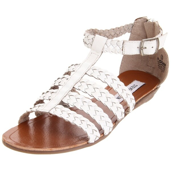 Steve Madden Womens Paggan Leather Open Toe Casual Strappy Sandals