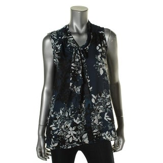 Aqua Womens Sheer Floral Print Blouse
