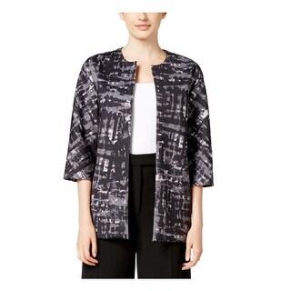 Anne Klein Womens Collarless Blazer Printed 3/4 Sleeves