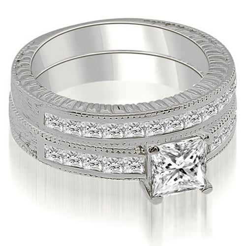 1.55 cttw. 14K White Gold Antique Princess Cut Diamond Bridal Set