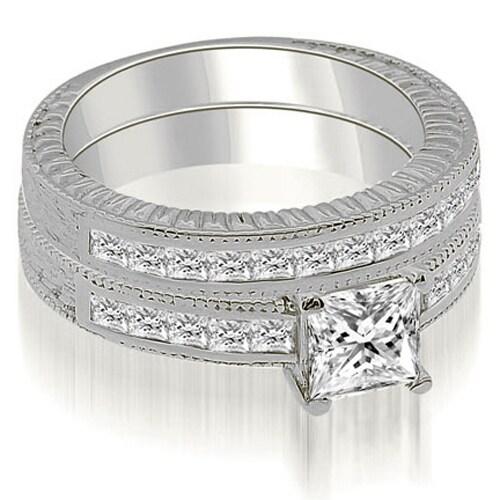 1.80 cttw. 14K White Gold Antique Princess Cut Diamond Bridal Set