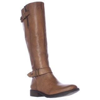 Steve Madden Alyyw Wide Calf Engineer Riding Boots - Cognac