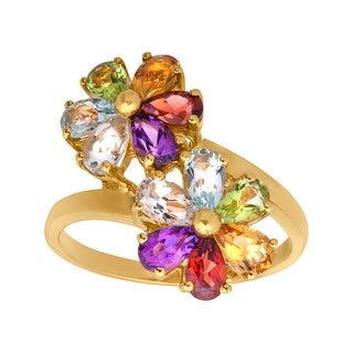 2 7/8 ct Multi-Stone Flower Ring in 14K Gold - Green