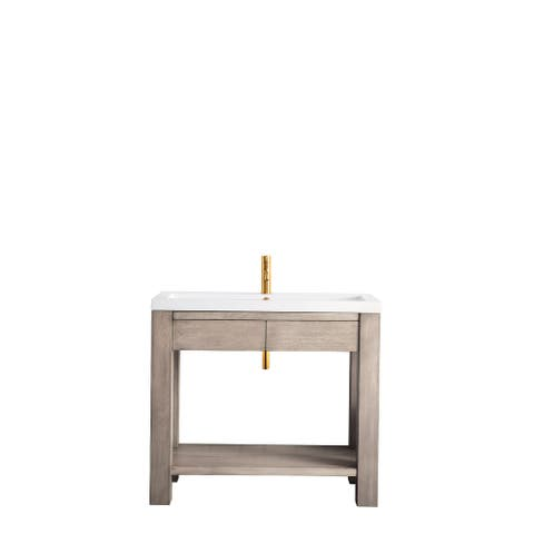 "Brooklyn 39.5"" Wooden Sink Console, w/ White Glossy Resin Countertop"