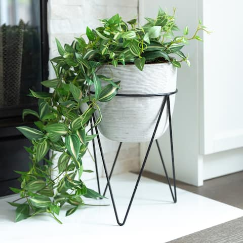"Mid-Century Concrete 12.5"" Tall Grey Cement Planter in Black Metal Stand"