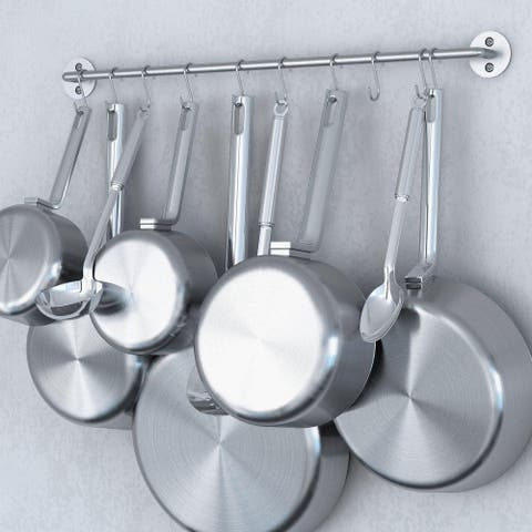 Wallniture Cucina Steel 24'' Wall Mounted Kitchen Rail with 10 Hooks, Silver