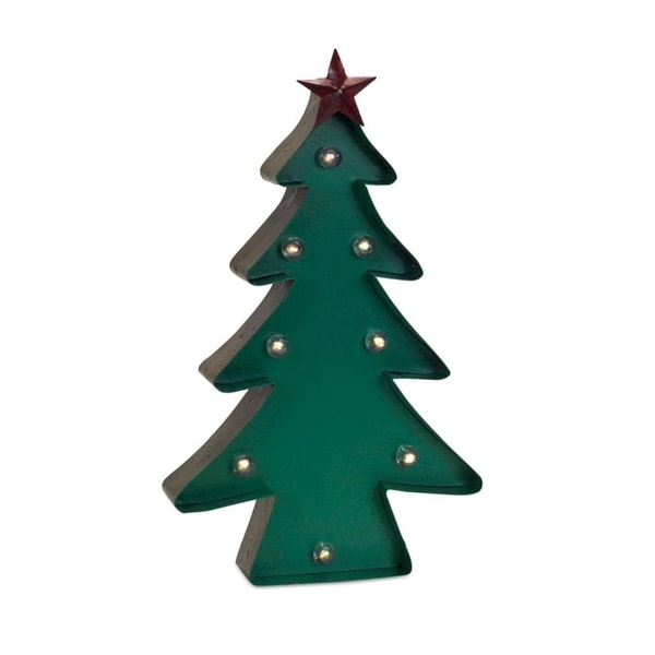 Set of 2 Prelit Green Christmas Tree Tabletop Decorations 16.25""