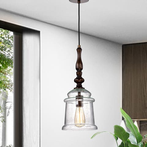 Oil Rubbed Bronze 1-Light Pendant with Glass Bell Jar Shade - Oil Rubbed Bronze