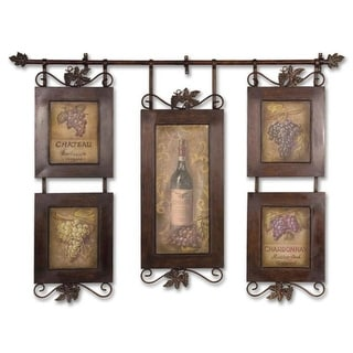 "53"" Wine Themed Oil Reproductions Hanging Collage in Hand Forged Frame"