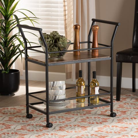 Valora Industrial Rustic 2-Tier Mobile Wine Cart