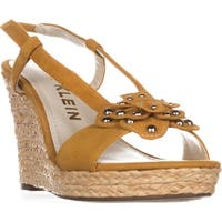 Anne Klein Marigold Suede Wedge Sandals,  Dark Yellow Suede