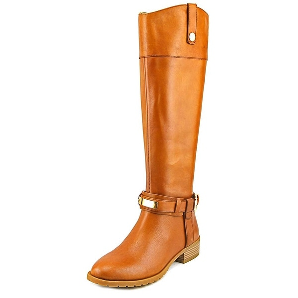 INC International Concepts Fabbaa Women Round Toe Leather Tan Knee High Boot