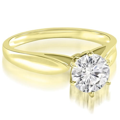0.75 cttw. 14K Yellow Gold Cathedral Solitaire Round Cut Diamond Engagement Ring