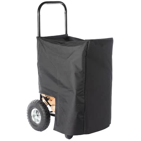 Black Firewood Log Caddy Wood Rack Stacking Holder Storage Cart Mover with Cover
