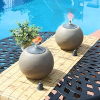 Sunnydaze 7-Inch Stone-Look Ball Outdoor Citronella Tabletop Torch - Set of 2