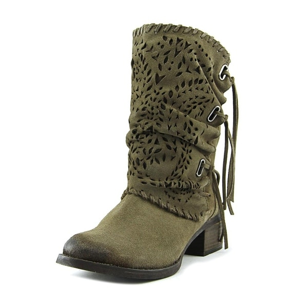 Naughty Monkey Vamp Phyer Pointed Toe Suede Mid Calf Boot