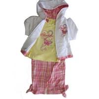 Skechers Baby Girls Coral Yellow Butterfly Tee Vest Plaid 3 Pc Capri Set 12M-24M