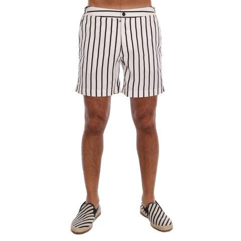 White Black Striped Men's Shorts