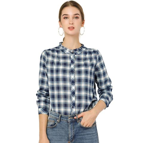 Allegra K Women's Fall Blouse Long Sleeve Ruffle Plaid Shirt