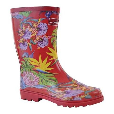 Anuschka Women's Mid-Calf Rain Boot Island Escape Printed Rubber