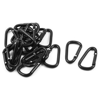 Sport Camping Metal D Ring Shaped Bag Carabiner Hook Black 20 PCS