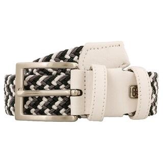 Renato Balestra T853 TESSERE White/Dark Green/Grey Leather Mens Belt-40in