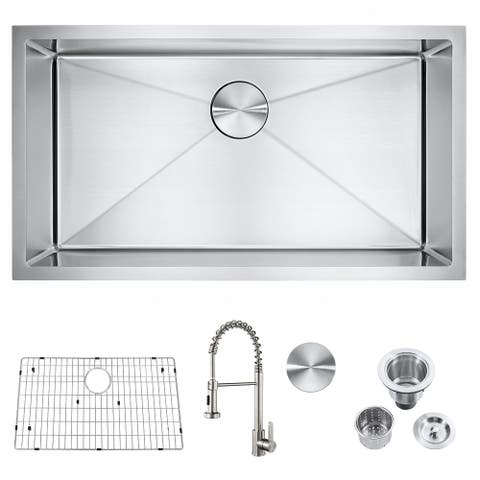 """32'' x 18'' x 9'' Stainless Steel Single Bowl Undermount Kitchen Sink With Faucet - 32"""" x 18"""""""