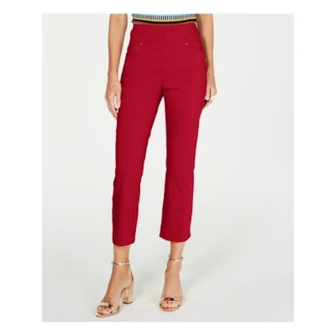 INC Womens Red Solid Skinny Pants Size 6