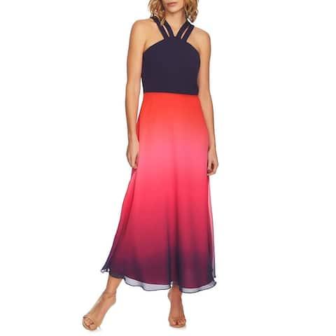CeCe Womens Maxi Dress Blue Size 4 Halter Double Strap Ombr Chiffon