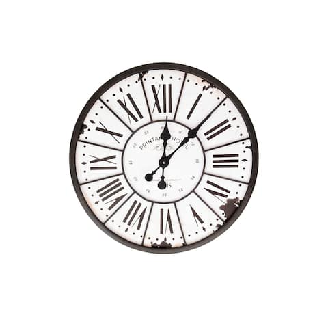 Turn of The Century Style Metal and Wood Wall Clock