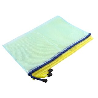 Unique Bargains Outdoor Traveling Rectangle Shaped Waterproof Bag Pouch Yellow Blue A4 3 Pcs