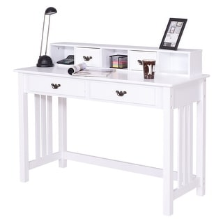 Costway Writing Desk Mission White Home Office Computer Desk 4 Drawer White