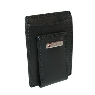 Tommy Hilfiger Men's Leather Fordham Card Case Wallet with Money Clip - Black - One Size
