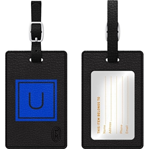 Centon Electronics - Otm Monogram Black Leather Bag Tag, Inversed, Marine - U