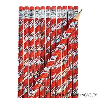 """24 Christmas Candy Cane Prism Pencils Approx. 7.5"""" New"""