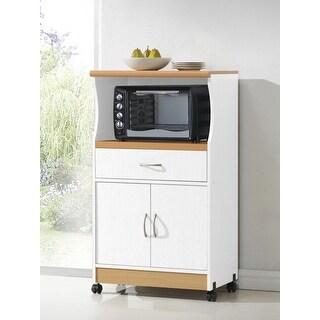 Hodedah Hik77 White Microwave Cart