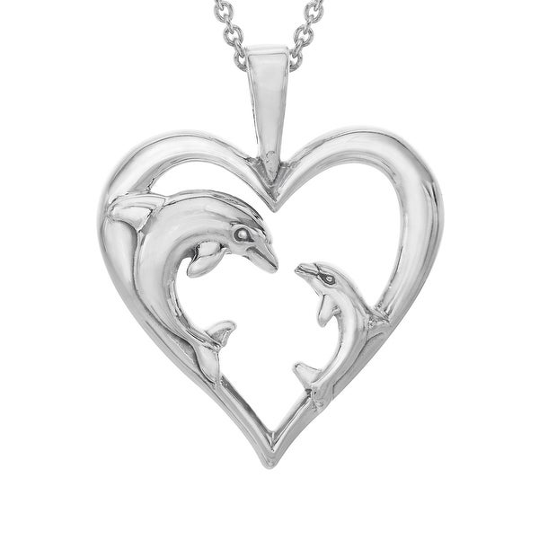 Kabana Dolphin Mother's Jewel Heart Pendant in Sterling Silver