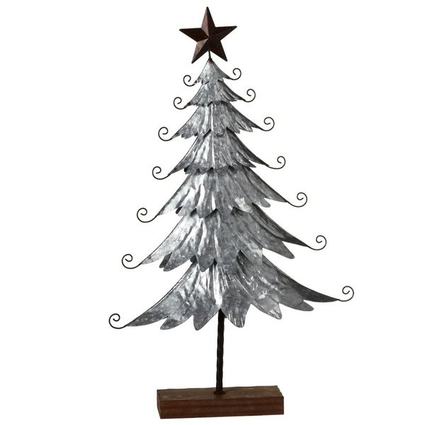 Silver Farmhouse Galvanized Metal Freestanding Christmas Tree with Star 35""