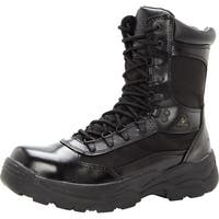 "Rocky Work Boots Mens 8"" Fort Hood Zipper Waterproof Black"