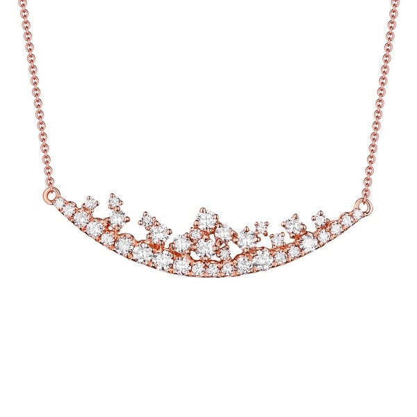 Brand New G-H/SI1 0.77 Carat Natural Round Diamond 17 Inches Designer Necklace - White