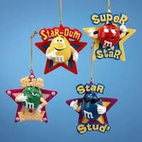 """Club Pack of 12 Artificial M&M Candy with Star Phrase Christmas Ornaments 3"""" - multi"""