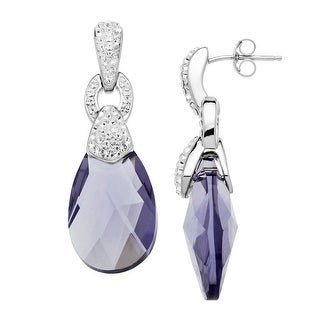 Crystaluxe Ring Drop Earrings with Purple Swarovski Crystals in Sterling Silver