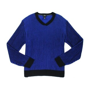 Alfani NEW Blue Mens Size Large L V-Neck Waffle Knit Stripe Sweater