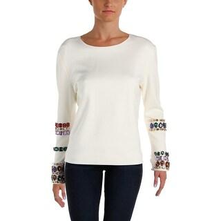Isa Arfen Womens Sweatshirt Embellished Crew Neck