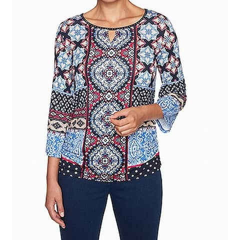 Ruby Rd. Women's Blue Size XL Medallion Print Keyhole Studded Blouse