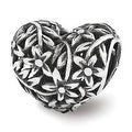 Sterling Silver Reflections Filigree Flower Heart Bead (4mm Diameter Hole) - Thumbnail 0